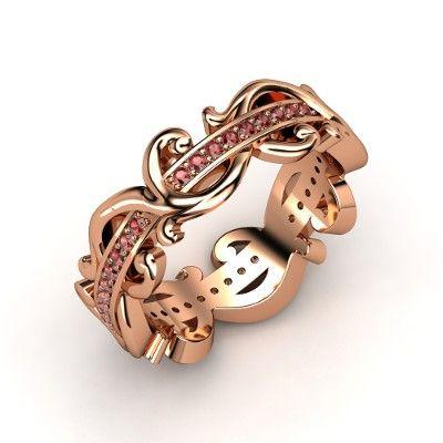14K Rose Gold Ring with Red Garnet - Atlantis Eternity Band | Gemvara
