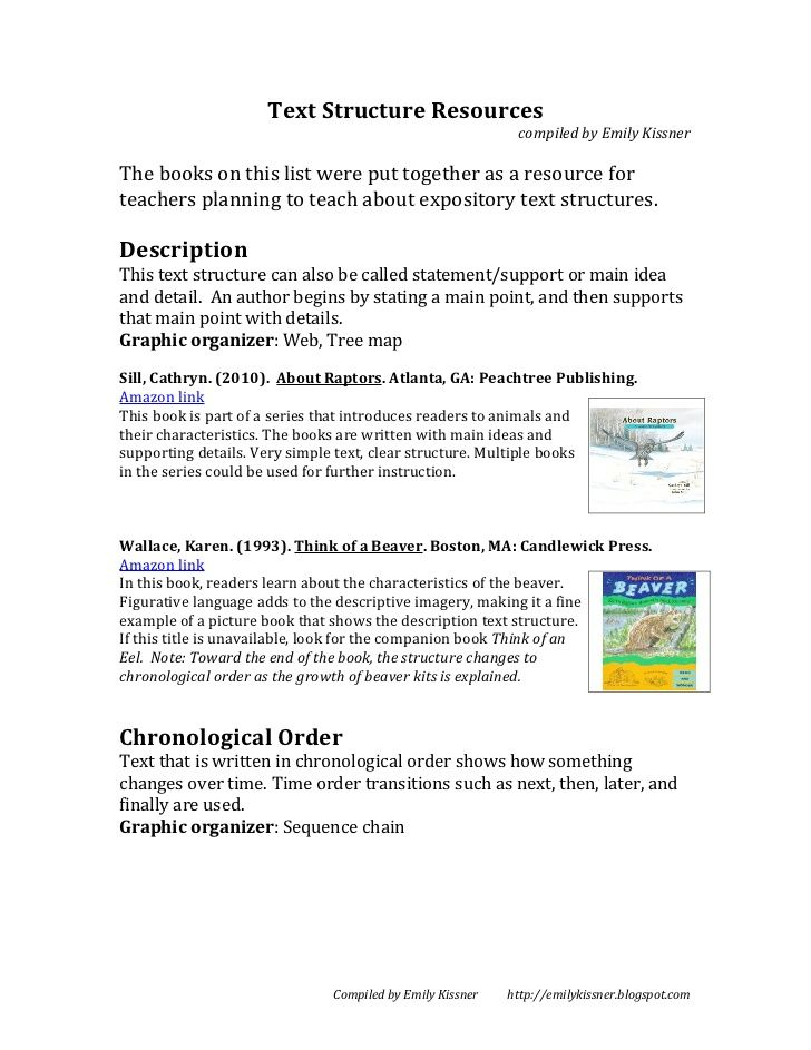 Text Structure Resources compiled by Emily KissnerThe books on th - example of chronological order