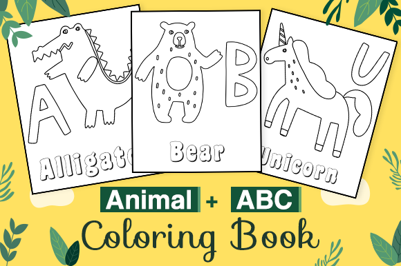 Abc And Animals Coloring Book For Kdp Graphic By Kdp Interiors Creative Fabrica In 2020 Animal Coloring Books Coloring Books Abc Coloring