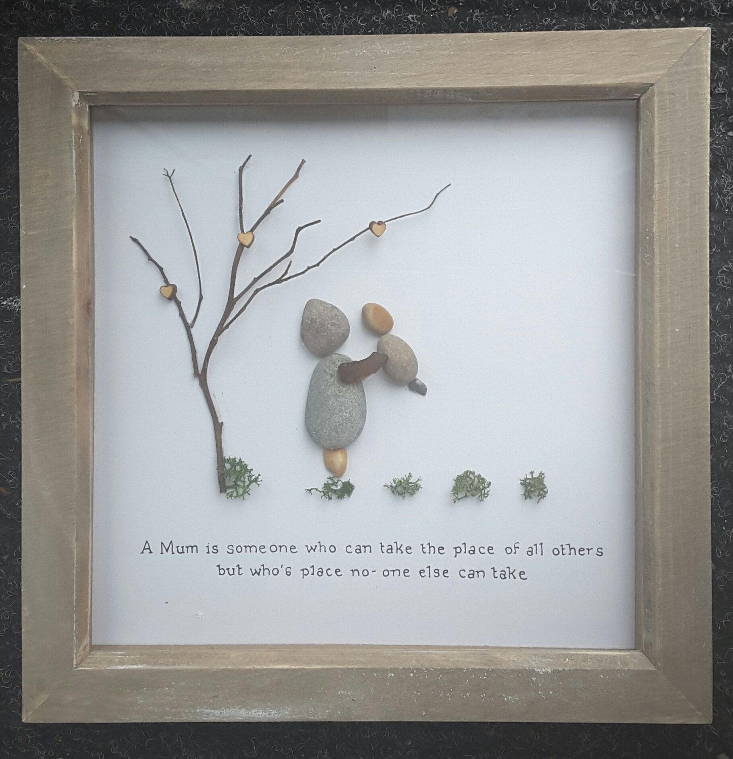 Pebble art picture, handmade,mothers day present,gift