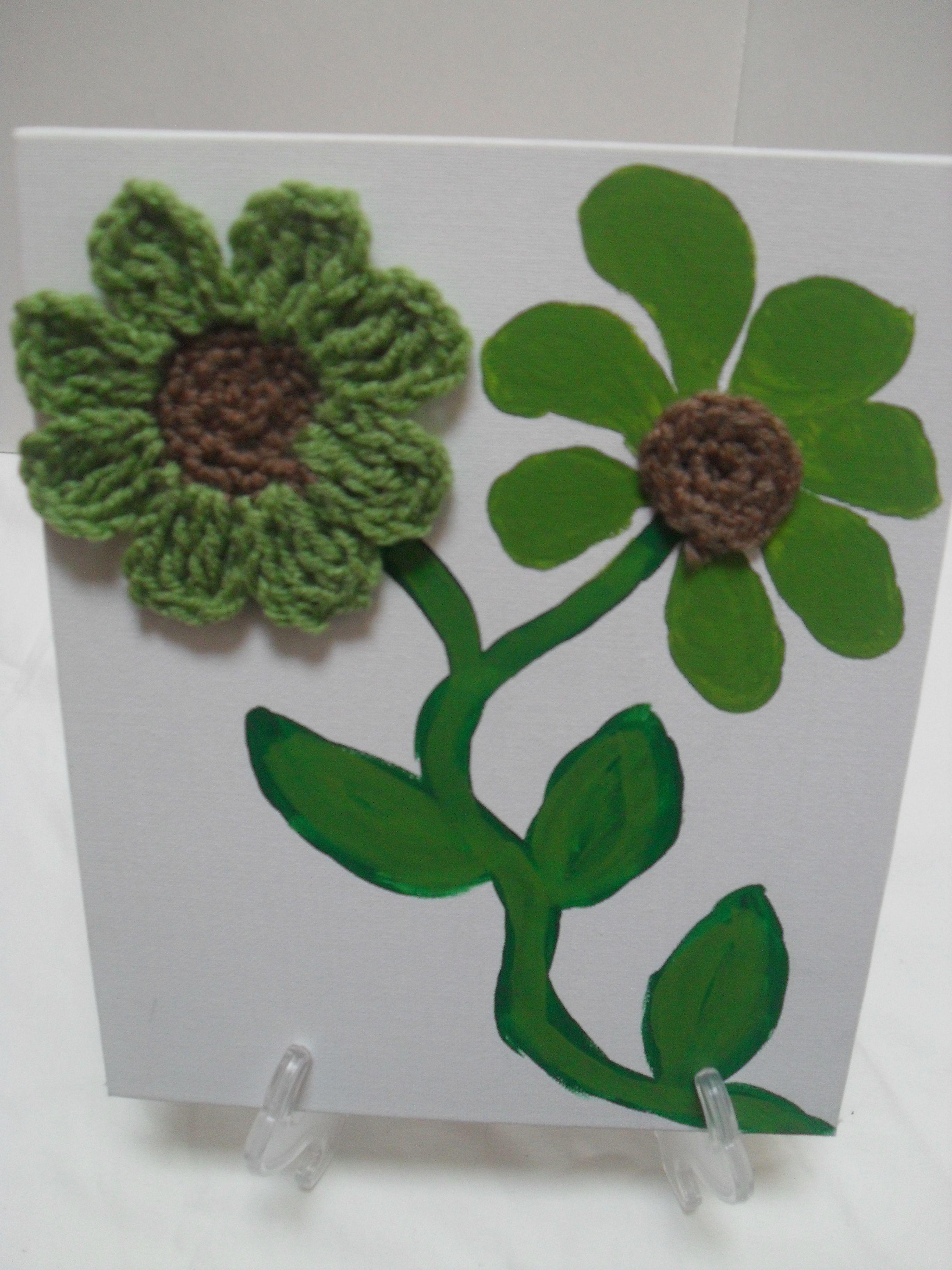Green Crochet flower art