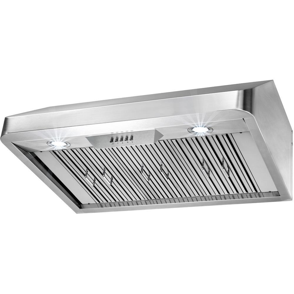 36 In Under Cabinet Range Hood In Stainless Steel With Leds Range Hood Stainless Steel Lighting Under Cabinet Range Hoods
