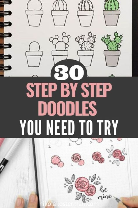 30 Super Cute How To Doodles For Your Bullet Journal is part of Bullet journal doodles, Bullet journal hacks, Bullet journal, Bullet journal period tracker, Bullet journal inspo, Bullet journal inspiration - Fun how to doodles you need to add to your bullet journal! You are going to love these drawings of animals, plants, flowers, fruit and more