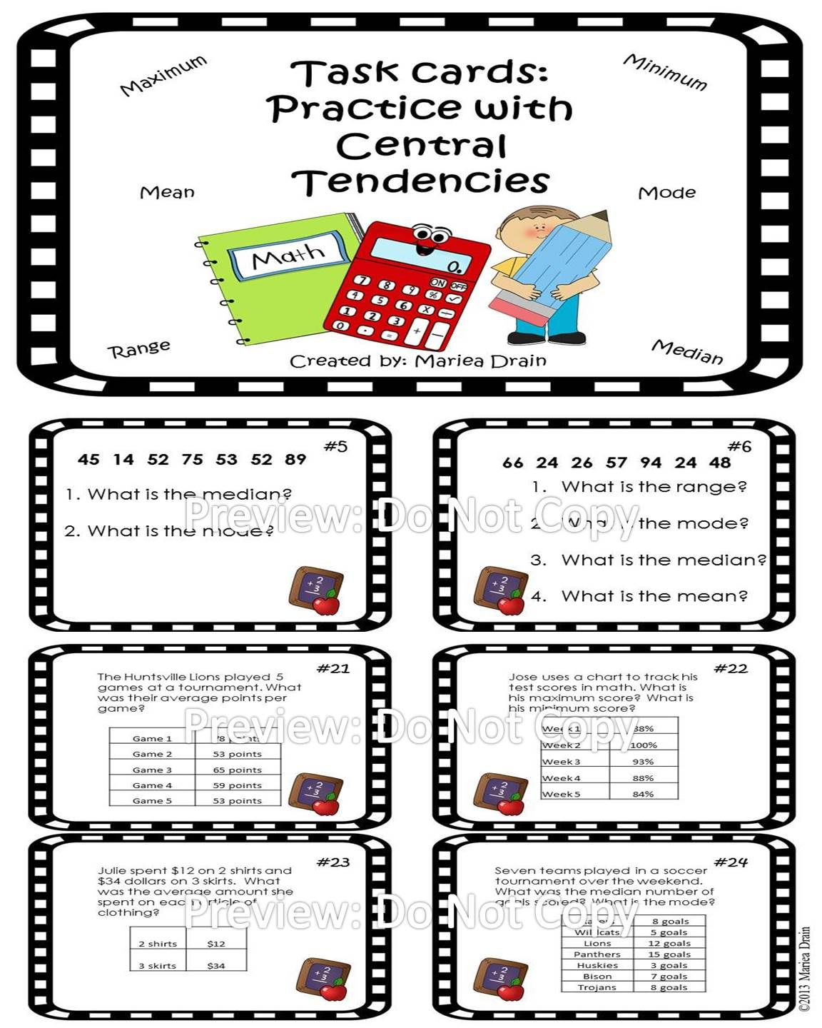 Central Tendencies Task Cards And Powerpoint Show Task Cards Task Cards Middle School Mode Math