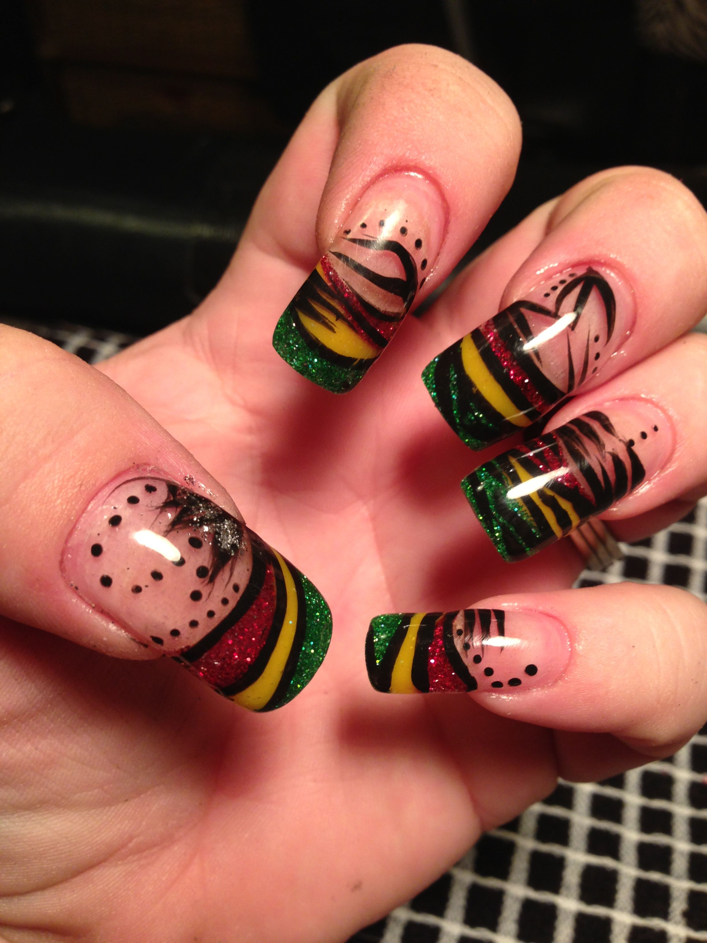My Rasta Nails with hand painted nail art design | Nails ...