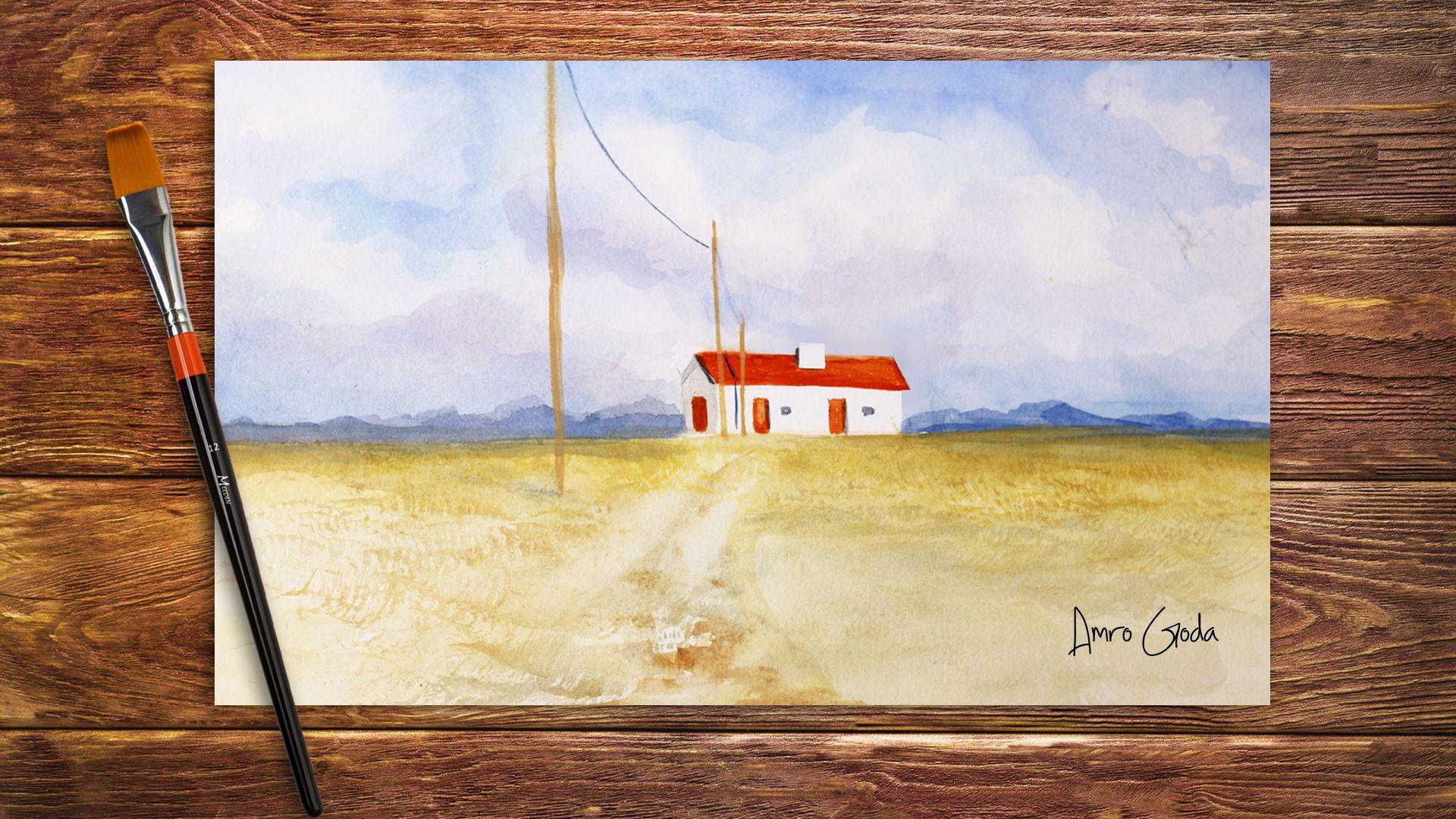 تعليم الرسم بالالوان المائية كيف ترسم منظر طبيعى بالالوان المائية رسم سماء و بيت صغير رسم منظر طبيعى رسم سهل تعليم رسم منظر طبيعي سهل خطوة بخ In 2020 Painting Art