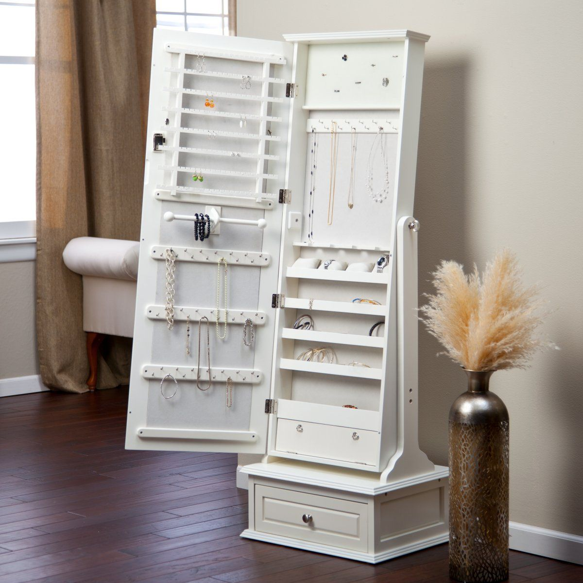 Transitional Cheval Mirror Jewelry Armoire With Base Drawer   Off White   Jewelry  Armoires At Hayneedle