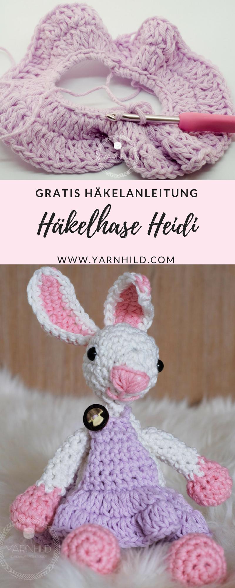 Häkelhase Heidi - Gratis Häkelanleitung | Diy pins