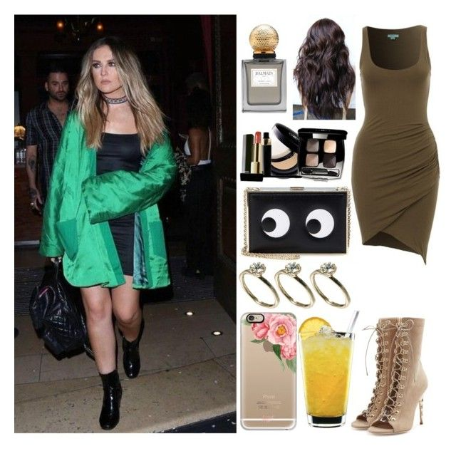 """Leaving the club with Perrie"" by zandramalik ❤ liked on Polyvore featuring Balmain, Anya Hindmarch, Warehouse, Chanel and Casetify"