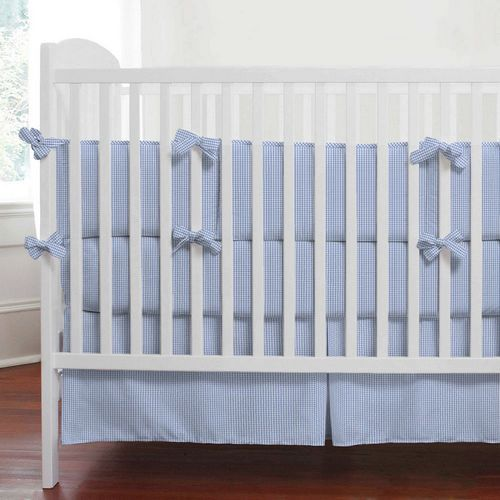 Blue Gingham Baby Bedding Crib Collection For Boys Carousel Designs 500x500 Image
