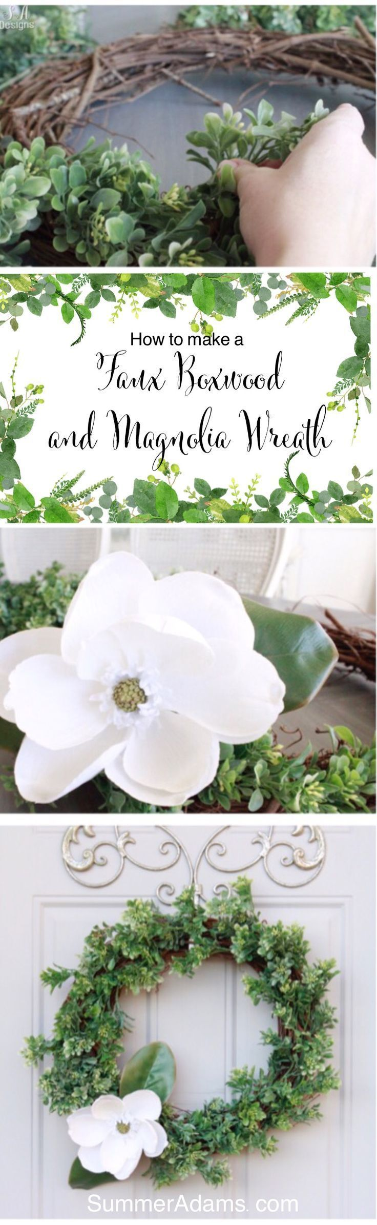 Photo of How To Make A Faux Boxwood & Magnolia Wreath – Summer Adams