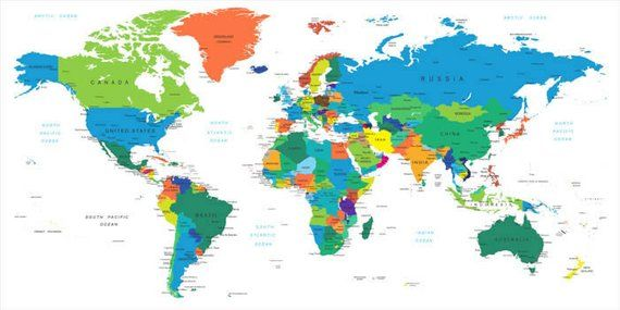 Dry Erase World Country Names Map Wall Decal   Products   World map ...