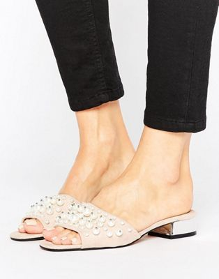 Lost Ink Wide Fit PEARL TRIM MULE - Mules noir yOB549