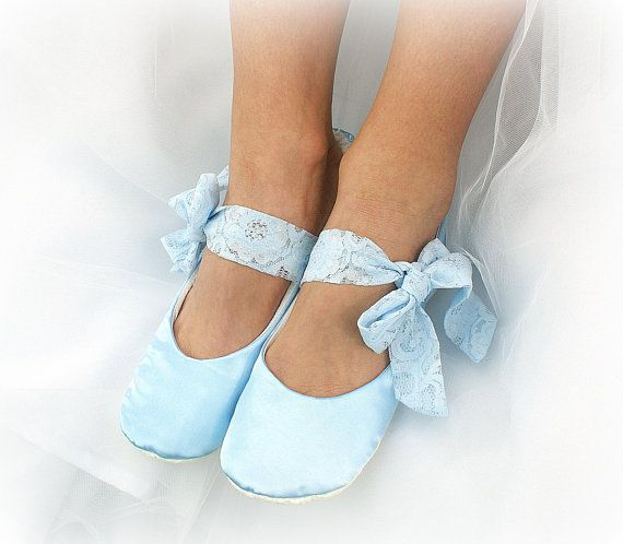 bace9b58f11 Light Blue Wedding Ballet Flats Shoes Satin Ballet Slippers Side Ties Something  Blue Bridal Flats Shoes