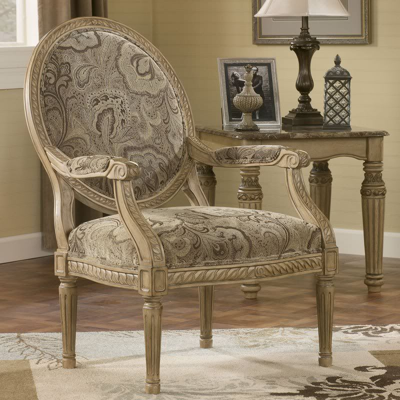 Old World Living Room Furniture: Old World Wood Trim & Fabric Sofa Set Living