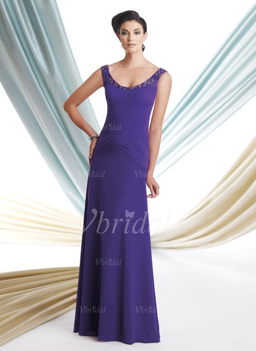 Mother of the Bride Dresses - $138.99 - A-Line/Princess Scoop Neck Floor-Length Chiffon Mother of the Bride Dress With Ruffle Beading (00805008319)