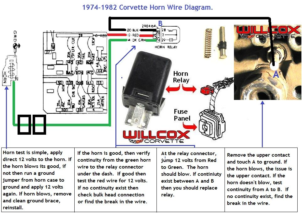 1974-1982-corvette-horn-circuit-wire-diagram | corvette, diagram, fuse panel  pinterest
