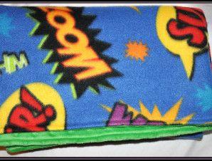Comics Words Fleece Blanket with Minky Backing   Geek-a-bye Baby