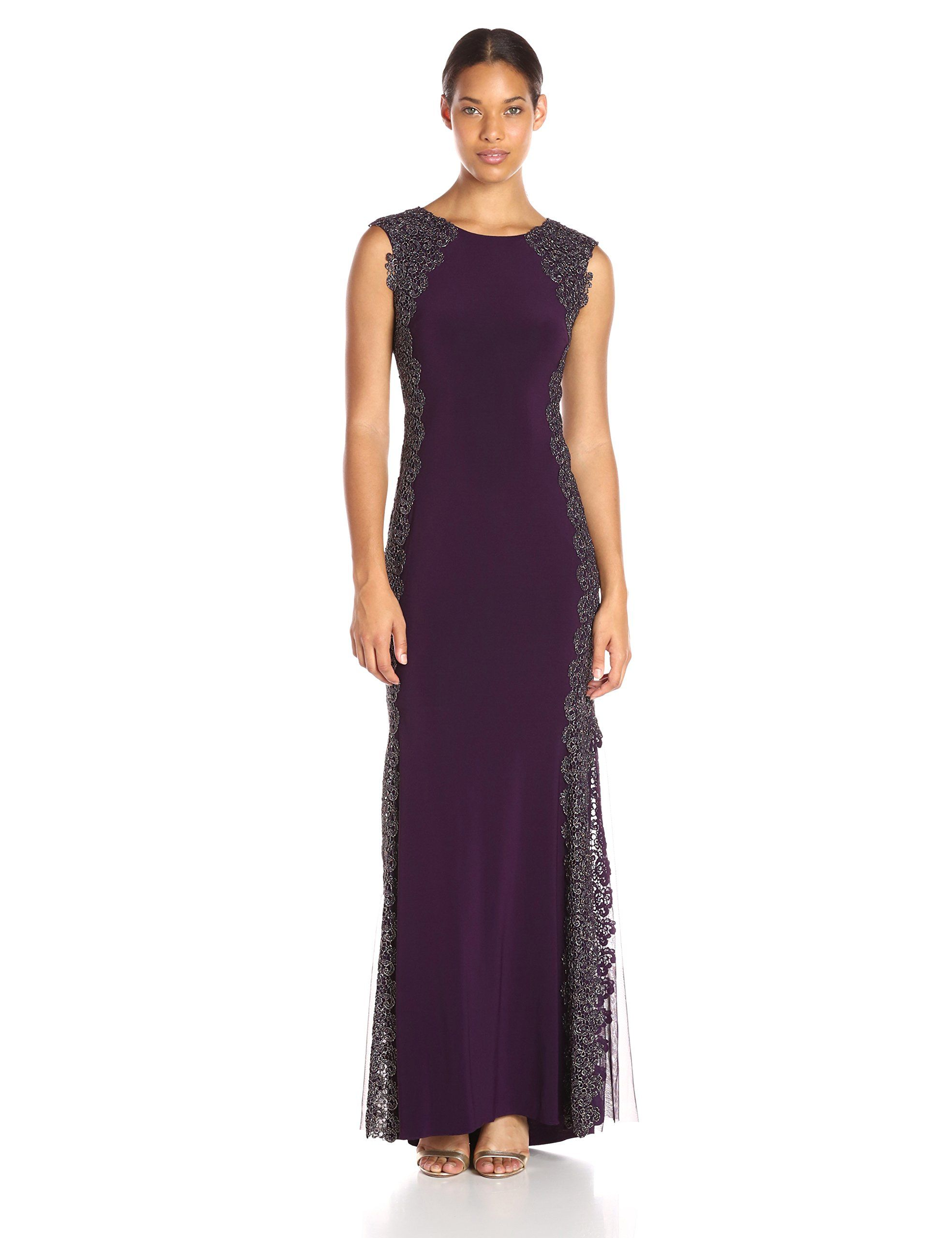 Xscape womens long ity dress with lace sides plumgold details