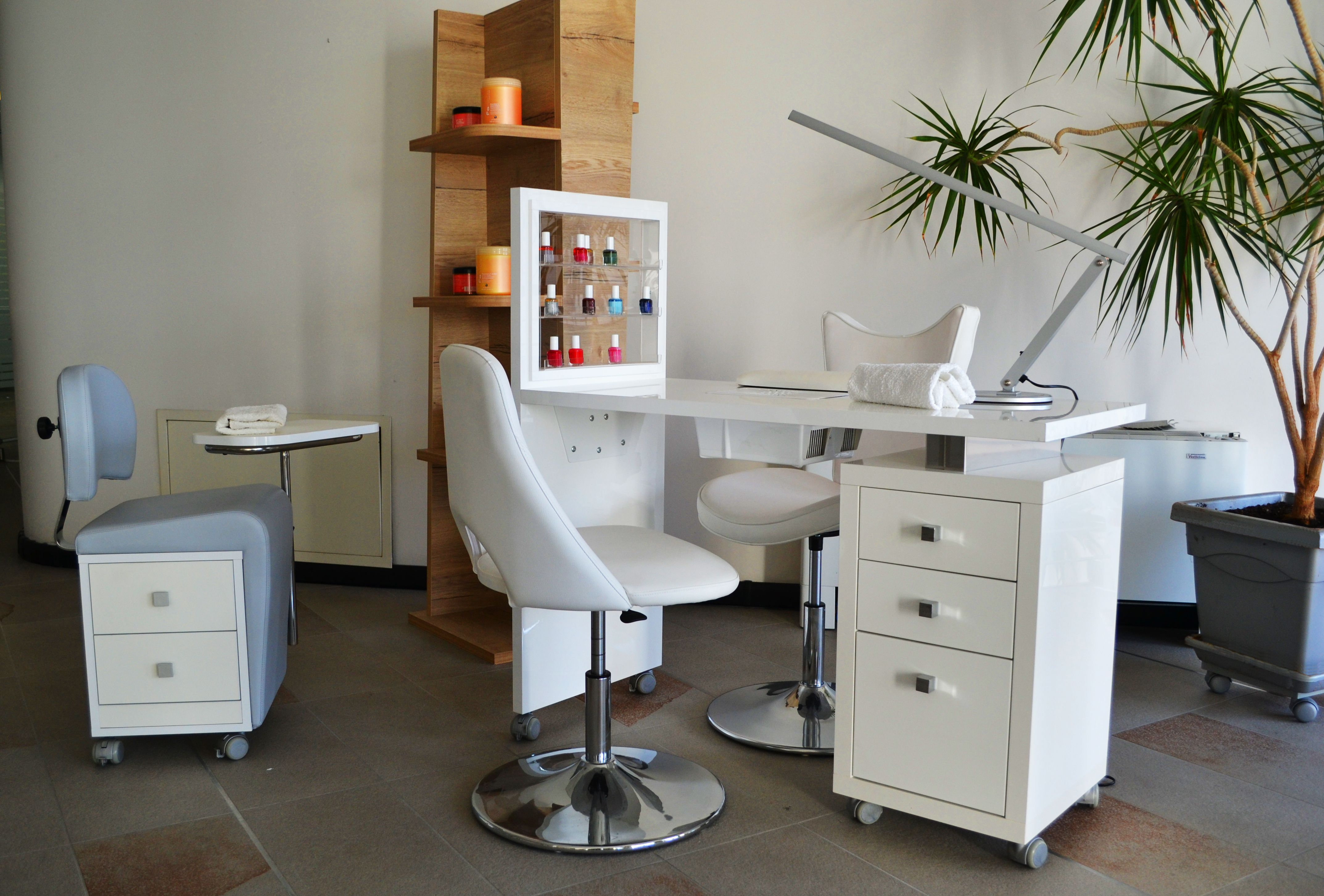 Elegant Manicure Table With Nail Polish Display It Can Be Used As A Single Station Or Linked Together To Create A Nail B Manicure Table Square Tables Manicure