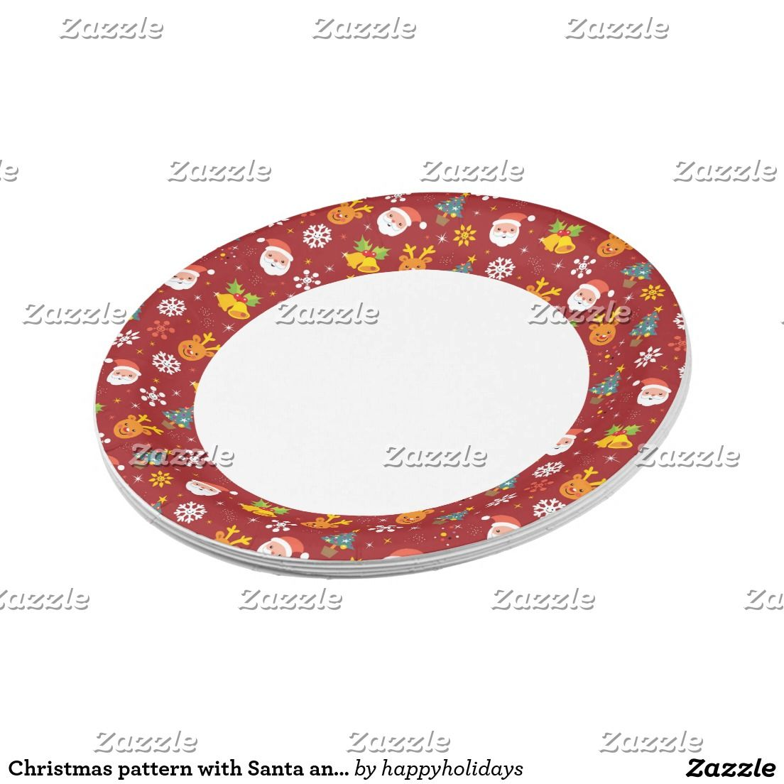 Christmas pattern with Santa and reindeer Paper Plate  sc 1 st  Pinterest & Christmas pattern with Santa and reindeer Paper Plate   Christmas ...