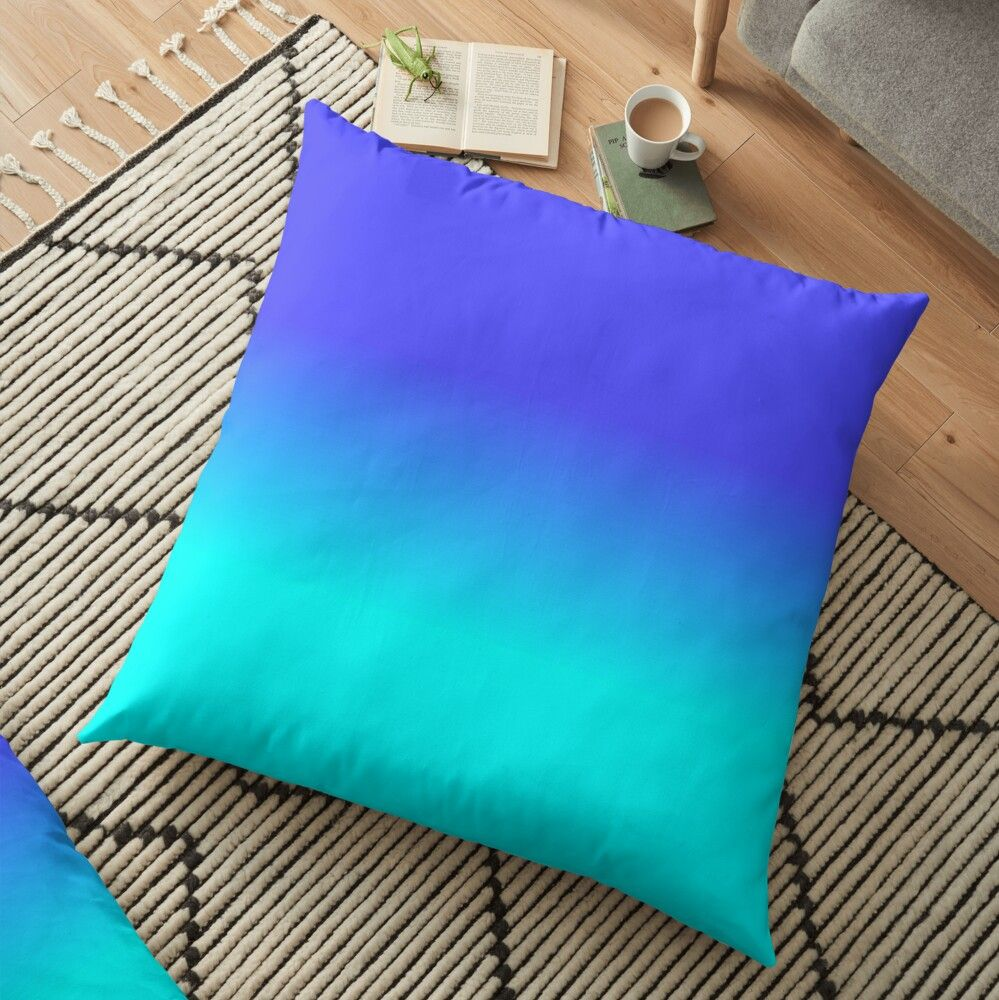 Neon Blue And Bright Neon Aqua Ombre Shade Color Fade Floor