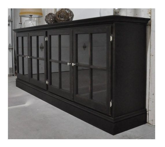 Media cabinet with glass doors in aged Black by SiGAHdesigns, $550.00 - Media Cabinet With Glass Doors In Aged Black By SiGAHdesigns
