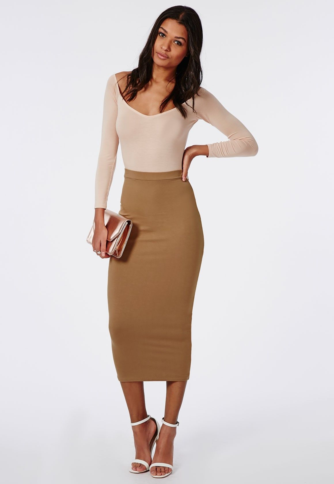 Longline Jersey Midi Skirt Camel - Skirts - Missguided | Clothes ...