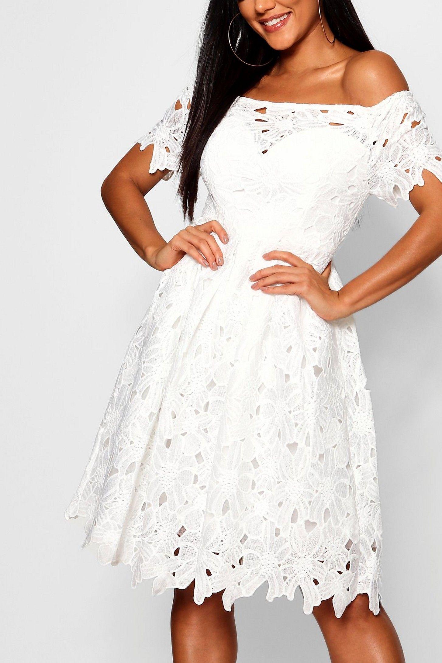 Boutique Off Shoulder Lace Skater Dress Boohoo In 2020 Lace White Dress Short Lace Dress Lace Skater Dress [ 2181 x 1454 Pixel ]