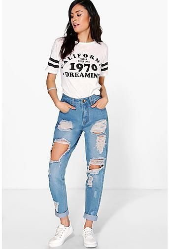 673c264a0a7 Sophie High Wst Light Wash Distress Mom Jeans | ripped jeans | Mom ...