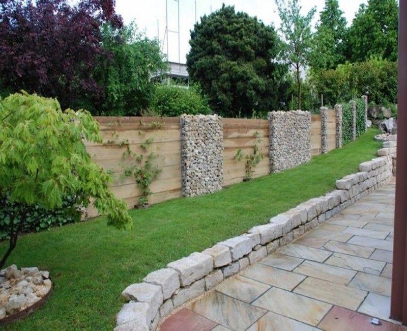 Gartenzaun mit Holz und Stein Gartengestaltung, Garten