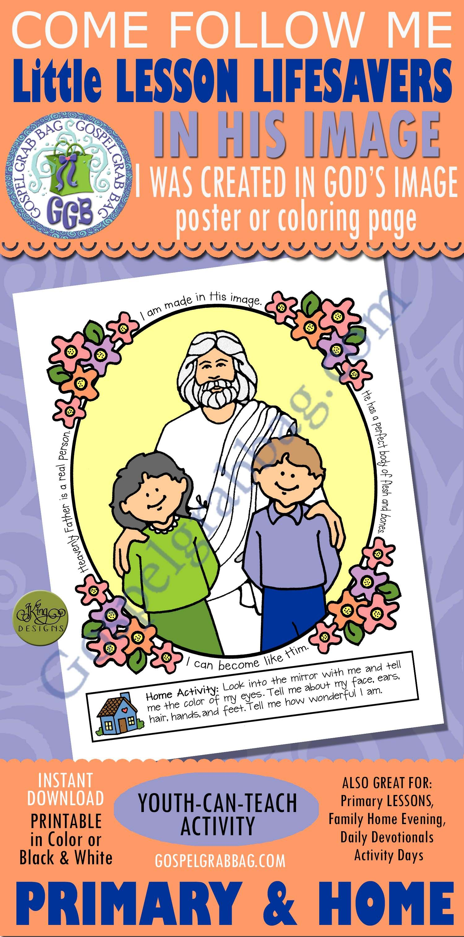 I Was Created In God S Image Poster Or Coloring Page Family Home