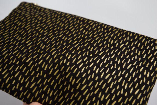 Clutches - RAIN | Siebdruck Clutch Metallic Tropfen - ein Designerstück von Kalinkati bei DaWanda