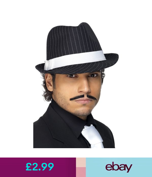 Black Trilby Hat Adults 20s Gangster Pin Sripe Black Fancy Dress Mens Fashion Edgy Mens Hats Fashion Mens Fashion Magazine