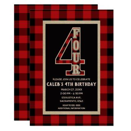 Rustic Red Black Buffalo Plaid 4th Birthday Party Card