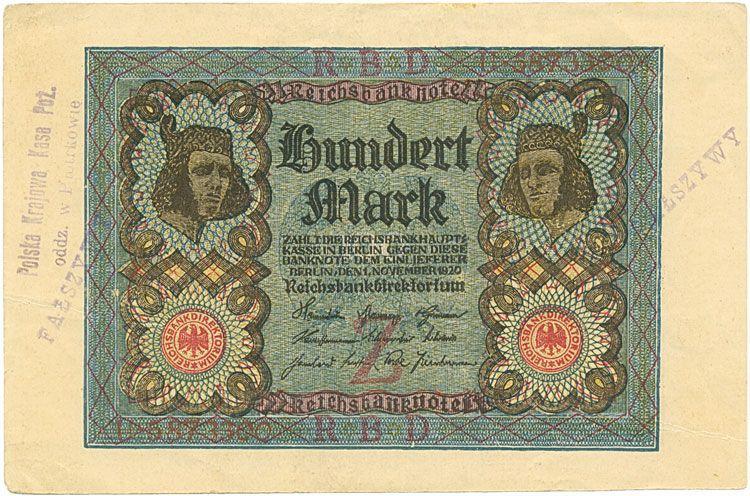 Reichsbanknote 100 Mark Vom 1 11 1920 Polnische Falschung Deutschland Weimarerrepublik Polen Geld Geldschein Papiergeld Reichsb Geldscheine Note Geld