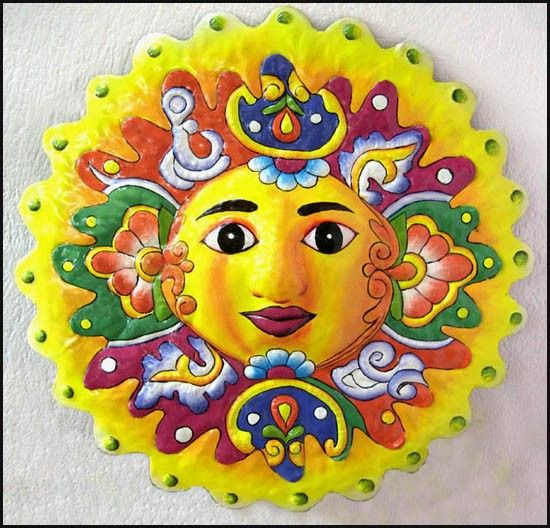 Hand Painted Sun Metal Art, Painted Metal Wall Decor - Outdoor ...