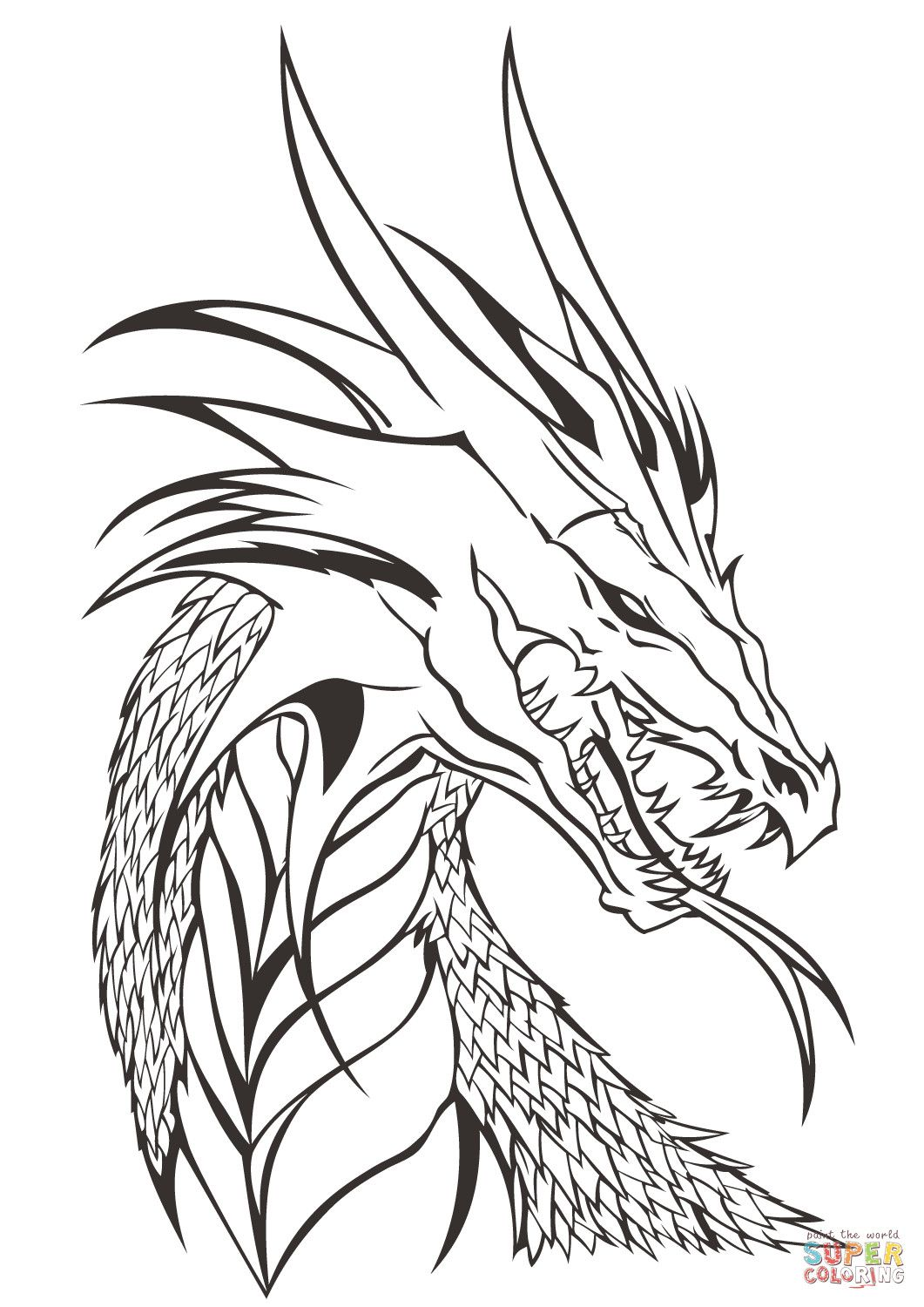 Dragon Head Coloring Page Youngandtae Com In 2020 Skull Coloring Pages Realistic Dragon Dragon Coloring Page