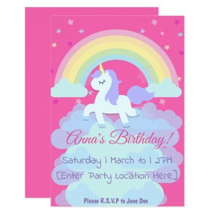 Unicorn  Clouds Birthday Invitations Pinterest Birthdays