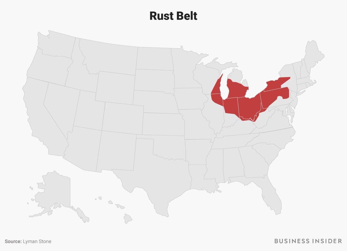 Rust Belt The US is split into