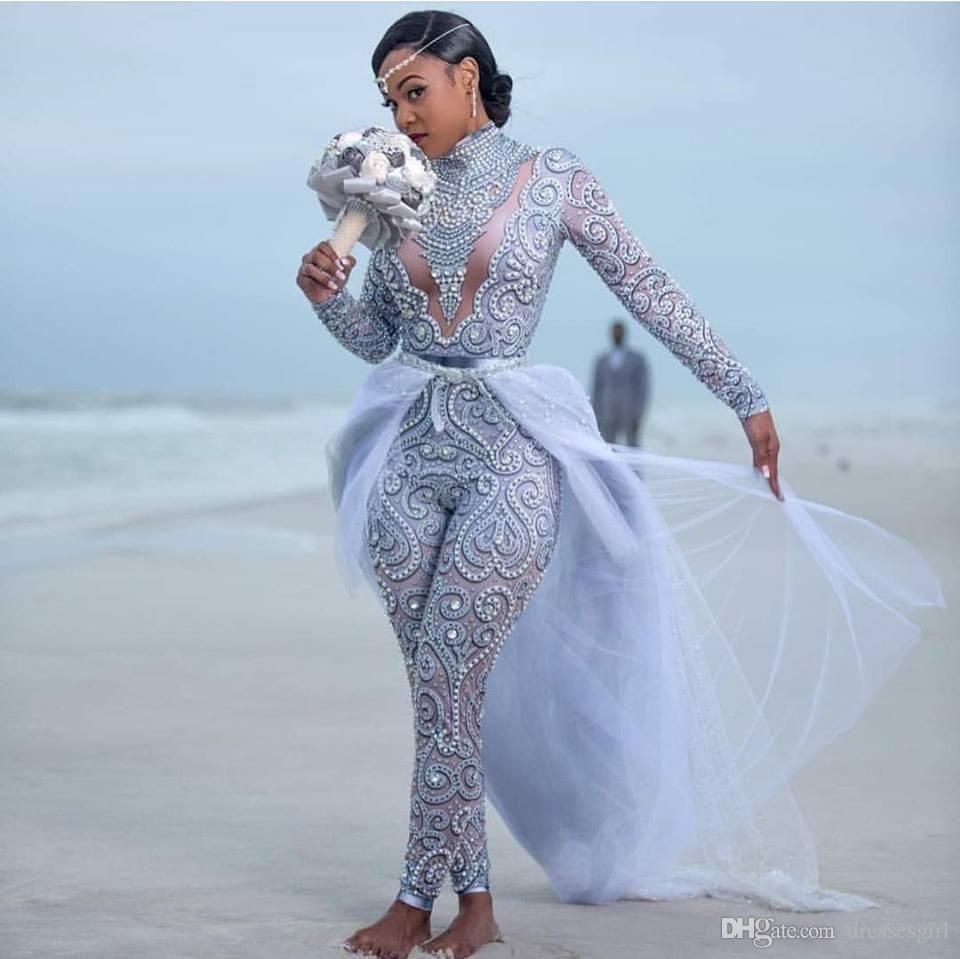 Discount 2019 luxury beaded jumpsuit wedding dresses with