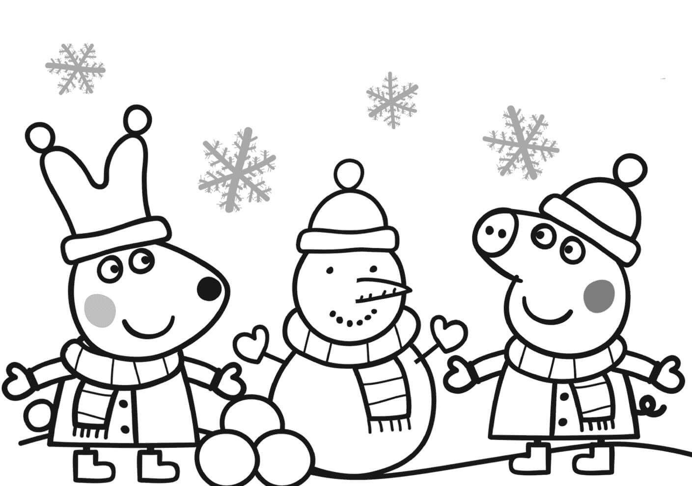 Peppa Pig Colouring Pages Printable Christmas