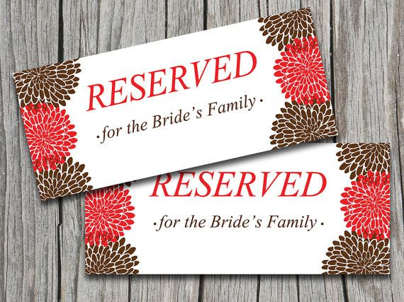 Wedding Reserved Sign Template Apple Red Chocolate Brown - microsoft word sign template