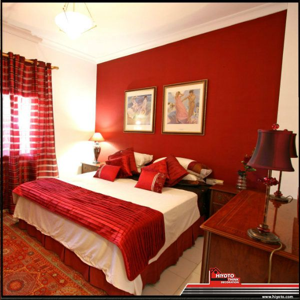 A red bedroom why not choose a pale or darker tone to for Bedroom ideas red and gold