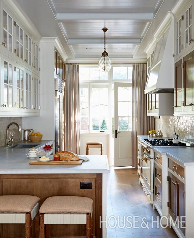 Traditional Details Shine In Smaller Spaces Too Take This Galley Kitchen Toronto Designer Silvana Daddazios Own 1880s Semi