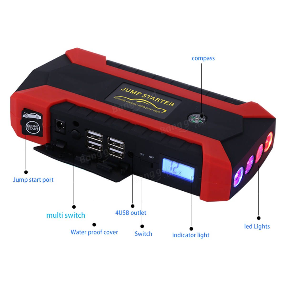 12V USB Charger Battery Power Bank LCD Car Jump Starter Pack Booster 89800mAh