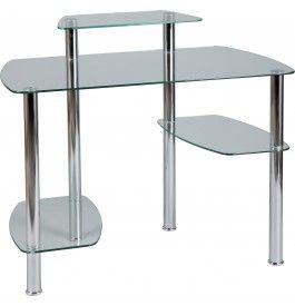 Bureau Informatique En Verre Trempe Transparent Home Decor Coffee Table Bar Table