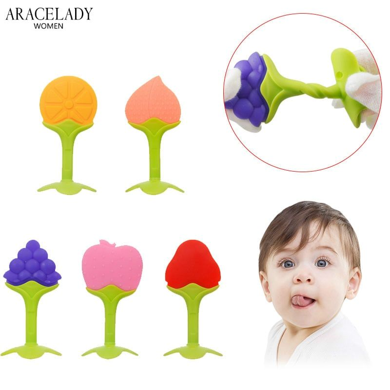 Baby Teether Infant Kids Chew Tooth Toys Baby Dental Care Strengthening Tooth Training Safety Silicone Fruit Teethers for Baby