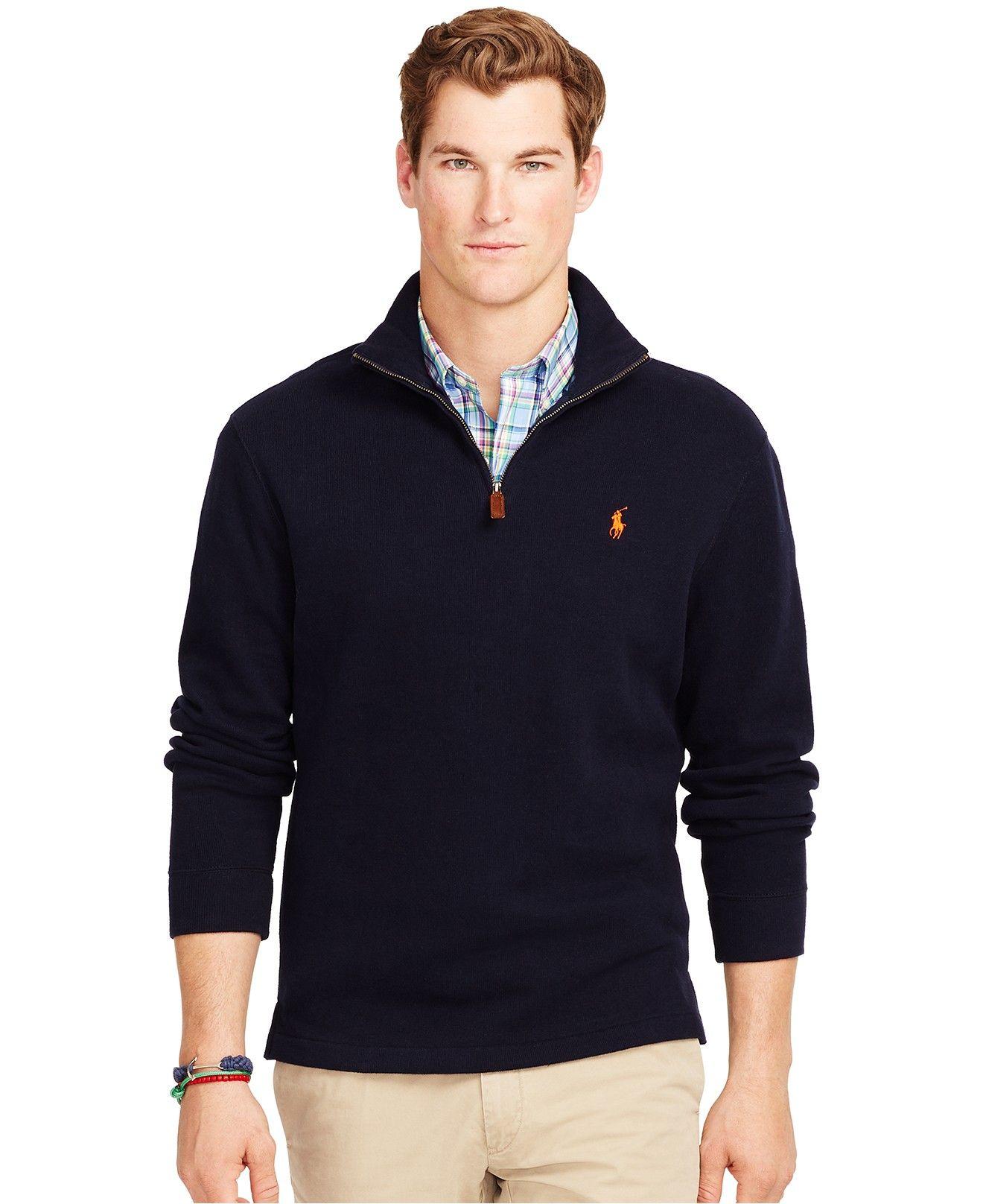 Polo Ralph Lauren French-Rib Half-Zip Pullover - Pants - Men - Macy s 0949e799906
