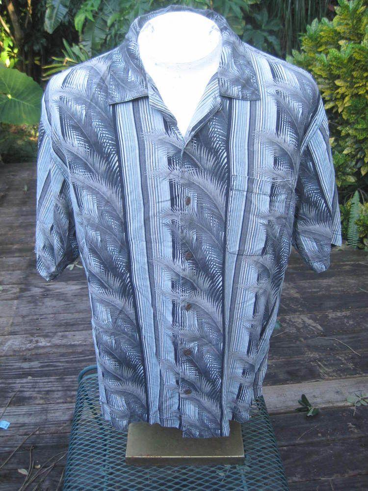 02f4b5aa Hawaiian ALOHA shirt L pit to pit 24 TOMMY BAHAMA silk stripe palm tree  foliage #TommyBahama #ButtonFront